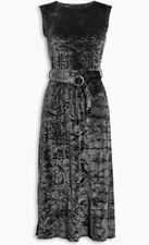 Bnwt🌹Next🌹Size 8 Petite Grey Crushed Velvet Flared D-Ring Belt Dress Work New