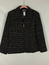 Sag Harbor Petite Jacket Zip Front Black With Multi Color Women Tag Size 12P