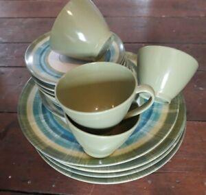 17 Piece Set Vintage American Melmac - green blue pattern Melamine picnic ware