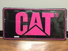 CAT Logo Caterpillar License Plate Tag - Pink / Black