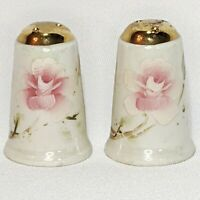 Vintage Lusterware Salt & Pepper Shakers Hand Painted Pink Floral Gilt 1.75""