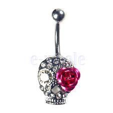 Surgical Steel Crystal Skull rose Flower Belly Bar Navel Ring Body Piercing WT