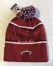 913365254b9 Miami Heat Knit Beanie Toque Winter Cap Hat Adidas Cuffed Pom Pom New NBA