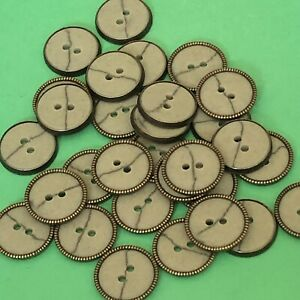 10 x 17mm Grey Marble Effect And Brass Coloured Buttons #1735