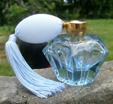 Vintage Light Blue Glass Perfume Bottle with New Atomizer HolmSpray 450/1