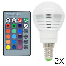 2x E14 RGB LED Globus Farbwechsel Lampe 3W AC85- 265V 16 Farbe mit Fernbedienung