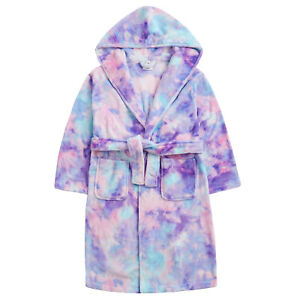 Childrens / Girls Pastel Tie Dye Fleece Dressing Gown ~ 7-13 Years