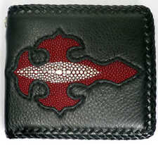 NEW CROSS GENUINE STINGRAY SKIN RED LEATHER MENS BIKER ROCK PUNK REAL WALLET