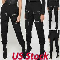 Women Hip Hop Punk Harem Cargo Pants Goth High Waist Trousers Jogger Techwear US