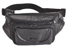 Mens Ladies Genuine Large Soft Leather Waist Bag Bumbag Multiple Zips Black
