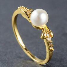 18K Yellow Gold Filled Pearl Sapphire Engagement Wedding Ring Women Jewlery #7