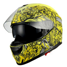 1Storm Motorcycle Full Face Helmet Dual Lens Sun Visor Monster Matt Skull Yellow
