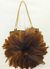 RARE DELPHINE PARIENTE CHOCOLATE BROWN FEATHER SILK EVENING CLUTCH BAG SMALL