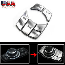 5Pcs I Drive Multi-Media Button Cover Trim For BMW 2 3 4 5 6 X5 X6 i3 Z4 Series