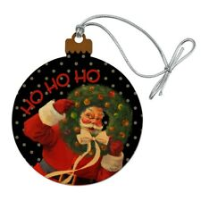 Christmas Holiday Santa Ho Ho Ho Wreath Wood Christmas Tree Holiday Ornament