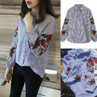 Fashion Ladies Stripes Long Sleeve T-Shirt Flower Embroidered Lapel Tops Blouse