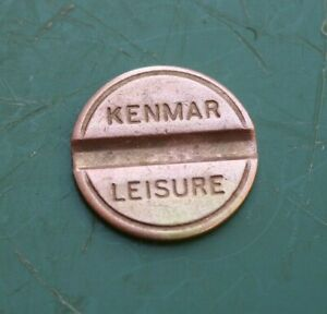 "KENMAR Leisure 20p Brass Token Gaming Coin 22.2mm 7/8"" Token 1 Groove"