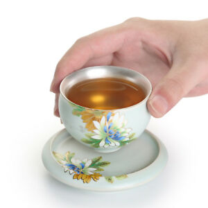 health care pure silver inside tea cup porcelain ruyao floral design tea saucer