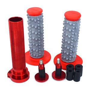 CNC Red Twister Throttle Tube Bar Grips Cap Plug For CRF250R CRF250X CRF450R New