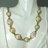 Vintage Pink White Iridescent  Moonglow Wired Gold tone Choker Necklace 7g 6