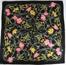 Gucci Women's Black Silk Vine and Floral Print Large Scarf 494604 1071