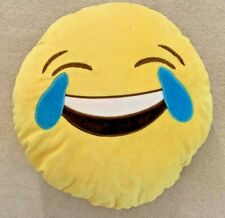 "Emoji Throw Pillow Yellow Laugh Til You Cry 13"" Very Soft"