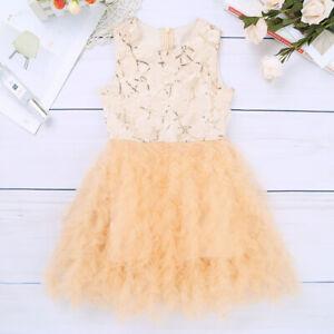 Kid Princess Dress Wedding Bridesmaid Maxi Gown Flower Girl Dress Birthday Party