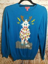 Ugly Sweater Blue Abominable Snowman/Reindeer Electric Shock Sz Xl 100 % Cotton