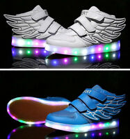 Kinder-Jungen-Mädchen-LED Blinklicht-Engels-Flügel-Turnschuhe Trainer-Schuh