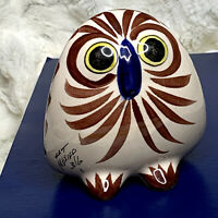 "Vintage Tonala Owl Mexican Pottery Mexico Ken Edwards Big Eyes Floral 5"" Figure"