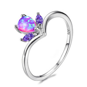 Retro Style Teardrop rainbow Fire Pink Opal Gemstone Silver Ring US Size 7 8 9