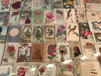 ~Lot of 50 ~1900s~Novelty~Greetings~Postcards-Silk~Metal ,Ribbons,Feathers-a550