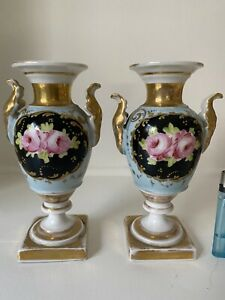 """Pair of Continental Neoclassical Style Gilt & Painted Porcelain Urns 6.5"""" 20th C"""
