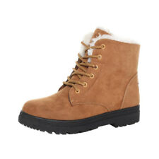 Women Winter Suede Flat Boots Lace Up Outdoor Fur Lined Work Snow Boots Shoes