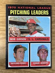1971 Topps NL Pitching Leaders Bob Gibson/Perry/Jenkins