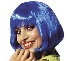 Señoras corto Azul Bob Peluca Con Flecos Lady Gaga Cheerleader Fancy Dress