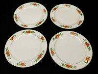 Royal Norfolk 4 Dinner Plates 10 inch Christmas Poinsettia Gold Trim