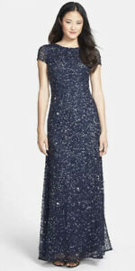 Adrianna Papell Short Sleeve Sequin Mesh Gown In Navy Size 10