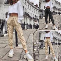 Belle Femme Pantalon Cargo Taille elastique Couleur Unie Bande élastique Plus
