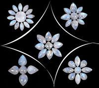 45 Pcs Natural Rainbow Moonstone Blue Shines 10mm-18mm Loose Cabochon Gemstones