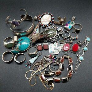 Sterling Southwestern Native Navajo Wear Repair Scrap Mixed Jewelry Lot
