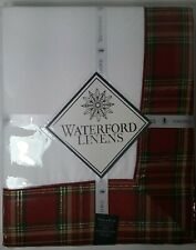 """Waterford Middleton Plaid  70"""" X 84"""" seats 6-8  Burgundy Red Green Holiday"""