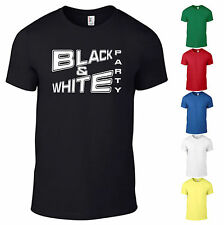 Black & White Party Black and White T- Shirt Mottoparty Mode Modern Fun neu