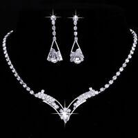 Damen Party Ball Silber Kristall Halskette Ohrringe Hochzeit Braut Schmuck xkj