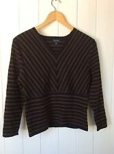 See Saw 1940's Style V Neck Sweater Black & Brown Striped 3/4 Sleeve Size S 8-10