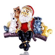 Vintage Christmas Rhinestone Painted Plating Cartoon Santa Claus Brooch Jewelry/