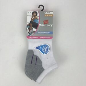 New Hanes Sport Cool Comfort No Show Socks Size 5-9, White 3 Pairs Free Shipping