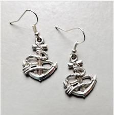 Anchor & rope pendant drop earrings . Tibet Silver tone dangle  jewellery
