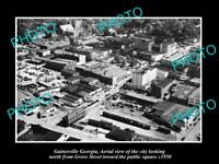 OLD LARGE HISTORIC PHOTO OF GAINESVILLE GEORGIA, AERIAL VIEW OF THE CITY c1950