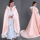 Bridal Winter Wedding Hooded Cloak Cape Faux Fur Bridal Mantles Wraps Jackets